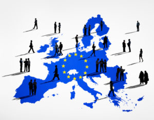 Blue Cartography Of The EU In A White Background